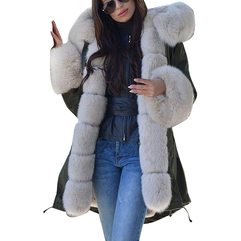 Jacket Parka Overcoat Hooded Faux-Fur Fishtail Womens Long-Sleeves Mujer Invierno