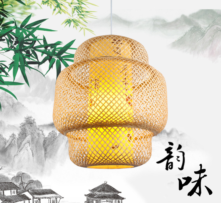 Chinese style classical hand knitting Bamboo art Chandelier Modern rural E27 LED lamp for porch&parlor&stairs&corridor LHDD055 southeast asia style hand knitting bamboo art pendant lights modern rural e27 led lamp for porch