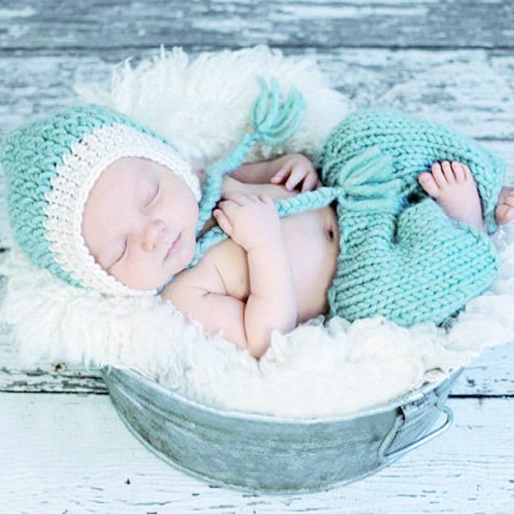 Newborn Photography Prop Warm Baby Crochet Knitted Hat+Pants 2pcs Costume Suit Winter Handmade Infant Girls Boys Cap Potografia
