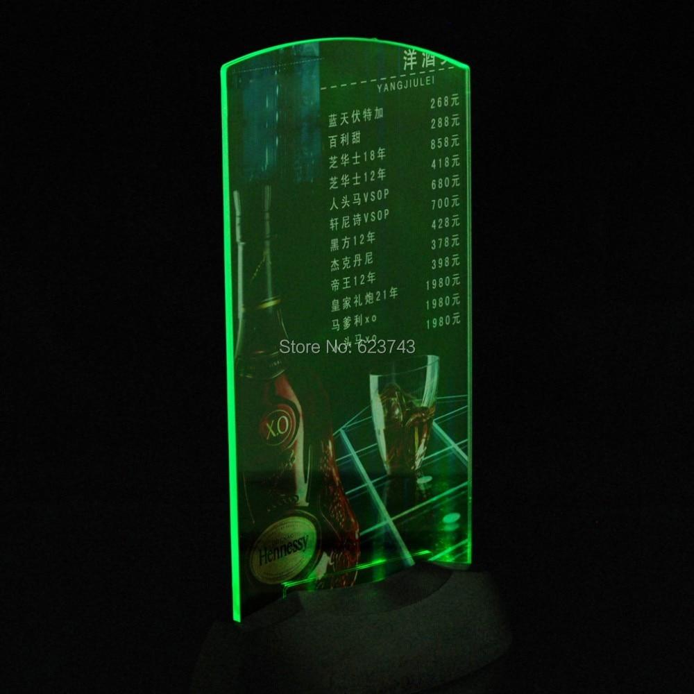 8pcs Lot flash LED Light up table menu Acrylic Illuminated Restaurant Card Display Holder Stand