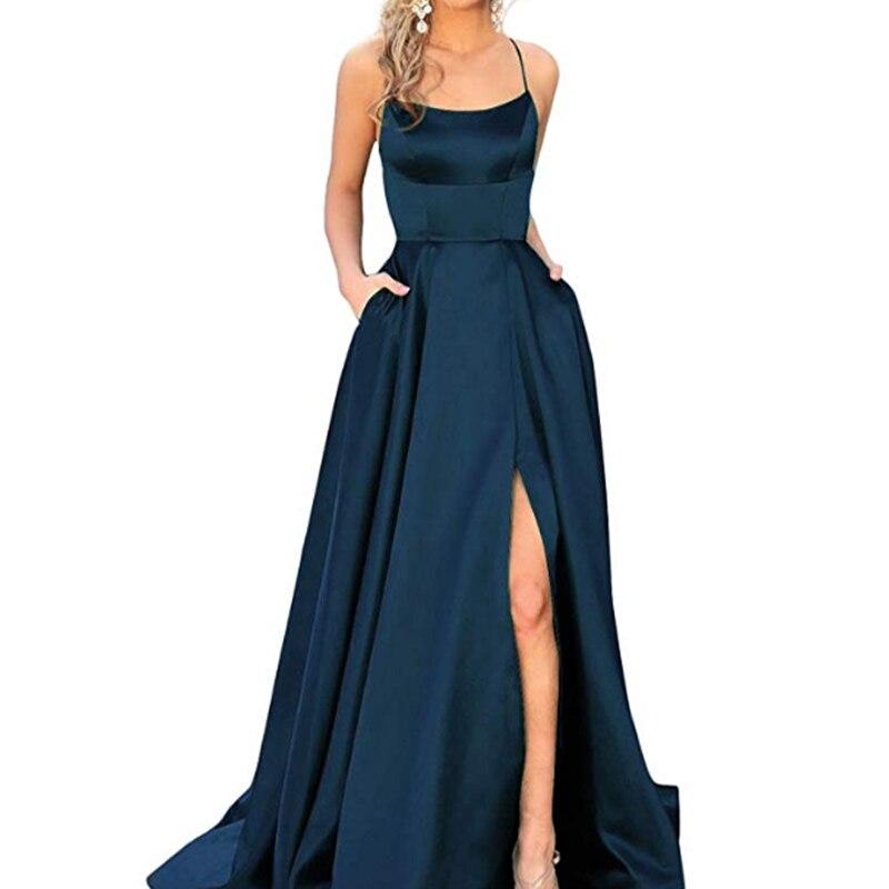 2019 bleu vert longue robe de bal une ligne haute fente Spaghetti sangle vestidos de fiesta largos elegantes de gala vestidos de baile