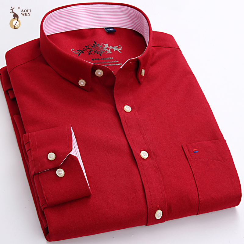 Aoliwen 2020 Men Long Sleeve Oxford Shirt Printing Solid Color Stripe High Quality Spring And Autumn Casual Shirts For Men Slim