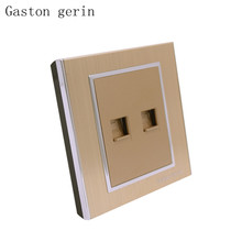цена на Wall Computer Internet Outlet With Telephone Socket Luxury Brushed Gold Panel 10A AC 110~220V 86mm Waterproof Electrical Outlet