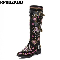 Handmade Black Winter Knee High Flat Embroidered Embroidery Boots Chunky Size 4 Luxury Brand Shoes Women