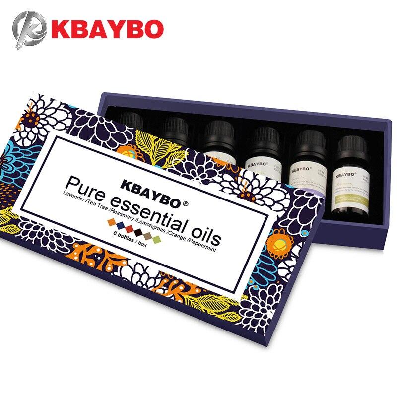 Óleo essencial de Difusor, Óleo de Aromaterapia Umidificador 6 Fragrância Tipos de Alecrim, Lavanda, Capim Limão, Laranja