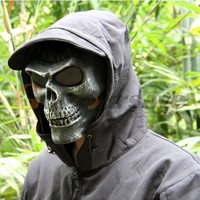 Military Full Face Skeleton Skull Mask Hunting Cosplay Party Halloween Props Silver Black