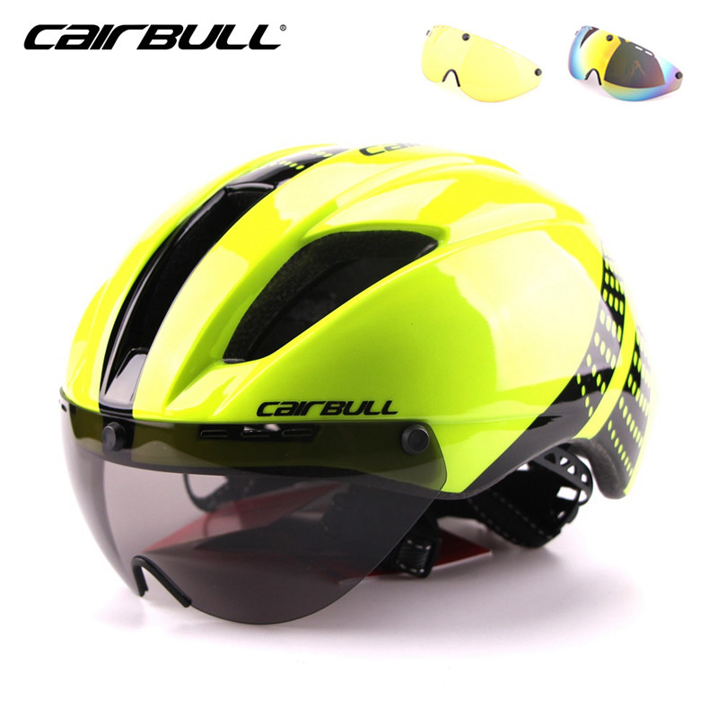 CAIRBULL 3 Lens Aero Cycling Helmet Road Bike Bicycle Sports Safety Helmets Riding Mens Time Trial