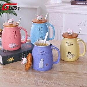 Novidade gatinho papa gato gypsophila sésamo cerâmica copo caneca de café leite criativo escritório café da manhã presentes
