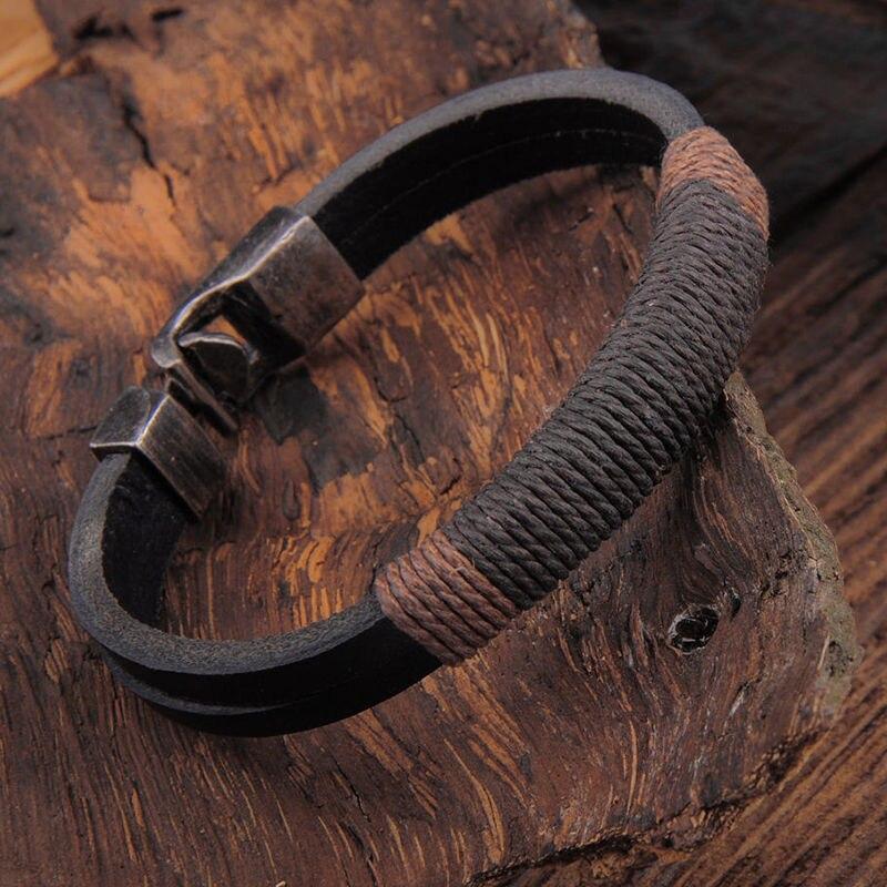 Nouveau Surfeur Hommes Chanvre Vintage En Cuir Bracelet Bracelet Manchette Noir Marron