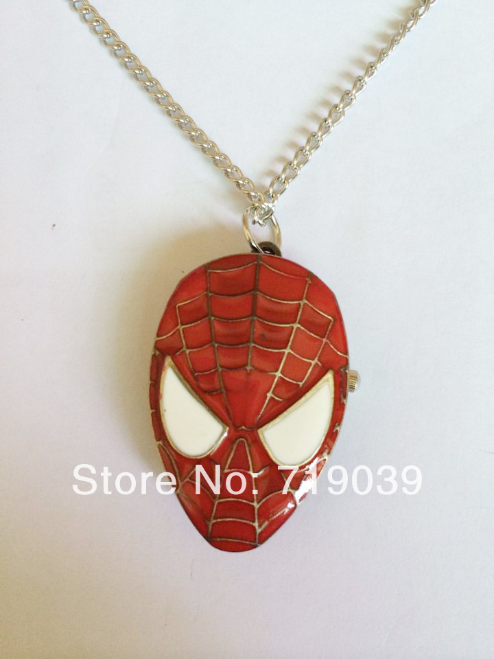 2014 Hot wholesale 10pcs/lot vintage charm Movie jewelry red Spider-man pendant pocket watch necklace factory price