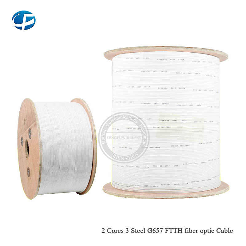 Free shiping white 1000m/roll 2 Cores Wire outdoor G657 FTTH fiber optic Drop Wire Cable LSZH sheath ship to UK by DHL