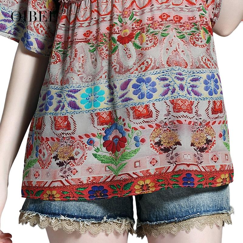 2019 Лето Hong Kong taste Ретро Женская машина с сердцем тонкая летняя женская блузка маленький цветок большой код иностранный газ жир мм для женщин - 6