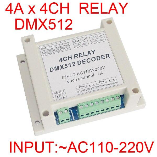 4CH DMX512 reléový regulátor 4 kanály reléový dekodér AC110-220V vstup, každý kanál max. 5A