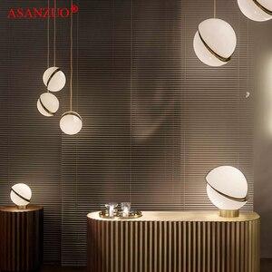 Image 3 - נורדי מודרני לבן כדור בועת led תליון אורות מטבח סלון מסעדת חדר שינה זהב טבעת תליית מנורה