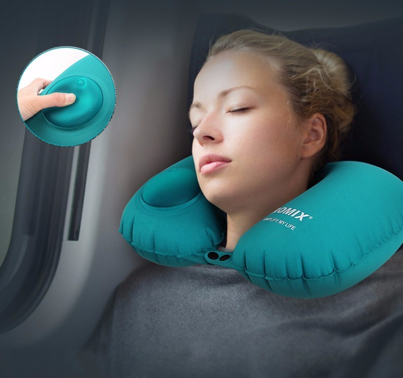 U Shape Inflatable Travel Pillow For Airplane Neck Pillows For Kids Sleeping Head Outdoor Support Portable Neck Cushion Pillow image