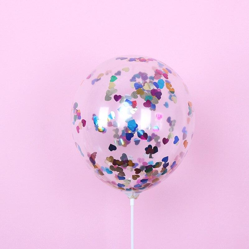 5 шт./лот, 12 дюймов, цветные конфетти, прозрачные воздушные шары с блестками, для детей, для дня рождения, мультяшная шляпа, для свадебной вечеринки, Декор, игрушки - Цвет: 5pcs heart