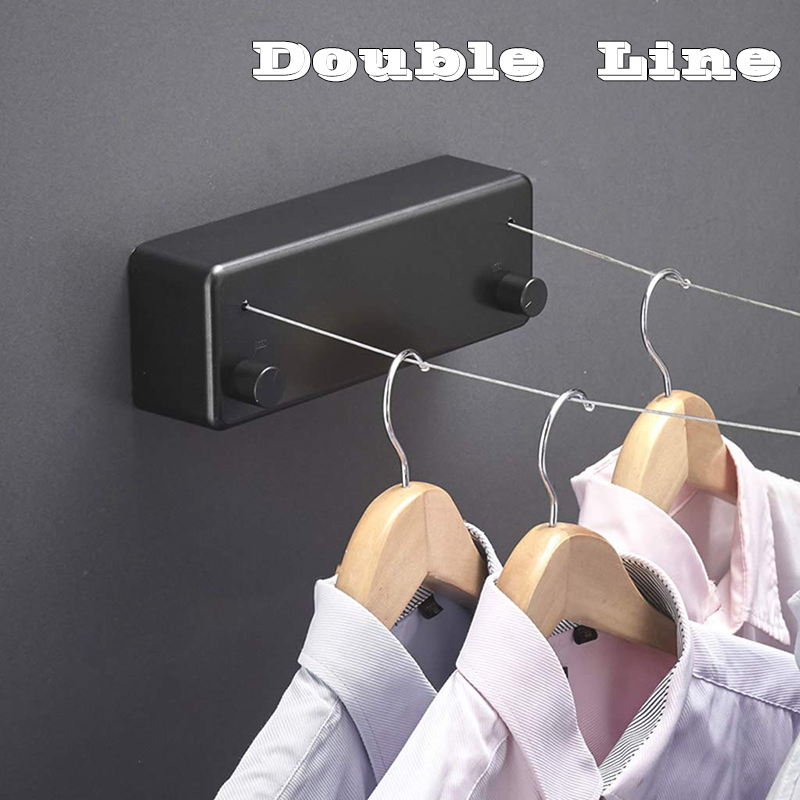 Home 4.2M Steel Wire Invisible Wall Hanger Indoor Retractable Clothesline Household Double-Line Telescopic Dryer For Clothes