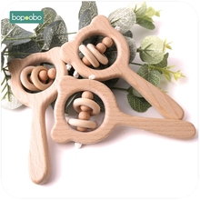 Bopoobo 1PC Baby Toy Beech Wood Teething Bear Wooden Ring Pr