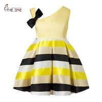 MUABABY 2 8T Little Girls Princess Party Dress Kids Royal Striped Single Shoulder Formal Fashion Summer