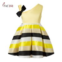 MUABABY 2 8T Little Girls Princess Party Dress Kids Royal Striped Single Shoulder Formal Fashion Summer