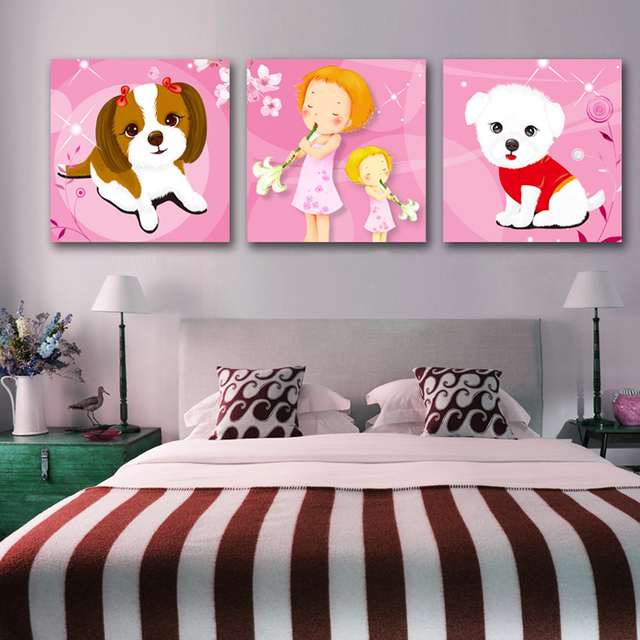 3 panel painting picture cute dog child bedroom wall art for Cute wall decor for bedroom