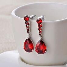 Женские серьги капли с красным фианитом bilincolor