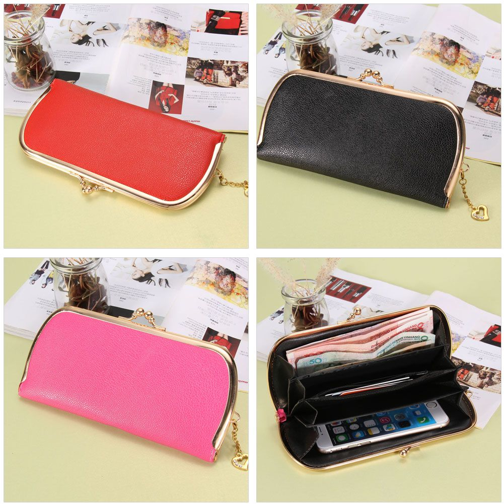 купить New Fashion Large Capacity Women Wallets Litchi Grain Zipper Day Clutch Simple Hasp Long Wallet Coin Purse Free Shipping недорого