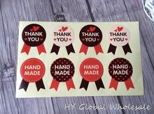 80pcs/lot Medal THANK YOU HAND MADE Red Black And Yellow Three-color Sealing Stickers DIY Gifts