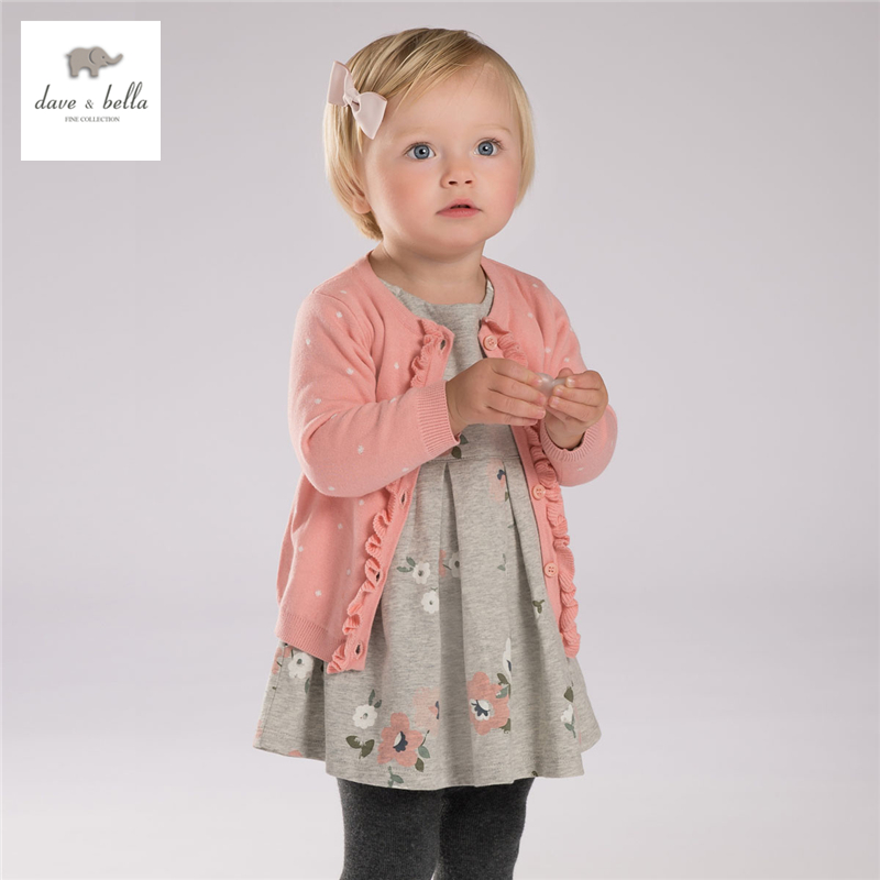 DB3640 dave bella autumn baby girls navy pink cardigan girls pink dots jacquard sweater цена 2017