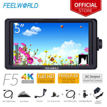 FEELWORLD F5 5 inch DSLR On Camera Field Monitor Small Full HD 1920x1080 IPS Video Focus with 4K HDMI DC Output Tilt Arm - DISCOUNT ITEM  0% OFF All Category