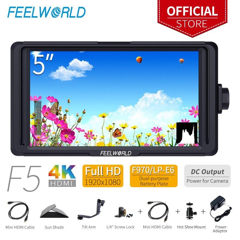 FEELWORLD F5 5 polegada DSLR Na Câmera Campo Monitor Pequeno Foco De Vídeo Full HD 1920x1080 IPS com 4 K HDMI Saída DC Tilt Braço