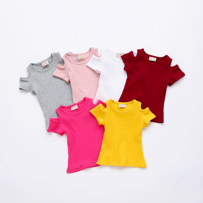 Shirt Baby-Girls Tops Short-Sleeved Kids Cotton Summer Off-Shoulder Candy-Color Casual