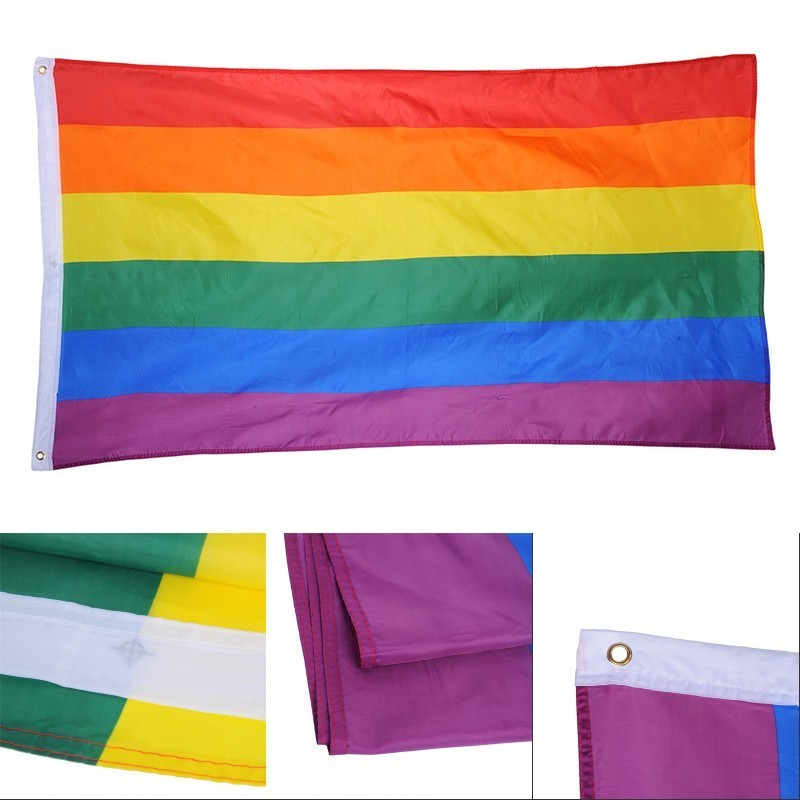 1pc LGBT Rainbow Flag 3x5FT 90x150cm Lesbian Gay Parade Banners Pride Flag Polyester Colorful Rainbow Flag for Decor in Flags Banners Accessories from Home Garden