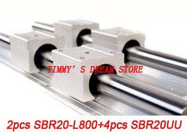 Free Shipping 2pcs SBR20-800mm Linear Bearing Rails + 4pcs SBR20UU Bearing Locks CNC X Y Z перфоратор makita hr2440