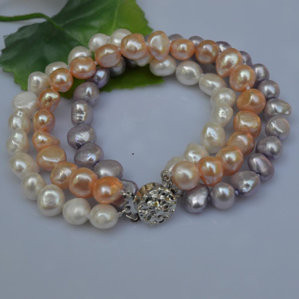 Handmade Pearl Jewelry 3 Rows Baroque Freshwater Pearl