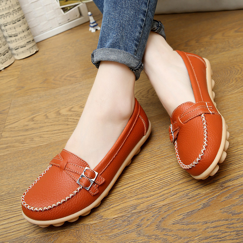 2017 Flats Shoes Women Casual Leather Shoes Buckle Loafers Soft Bottom Women Flats vintage embroidery women flats chinese floral canvas embroidered shoes national old beijing cloth single dance soft flats
