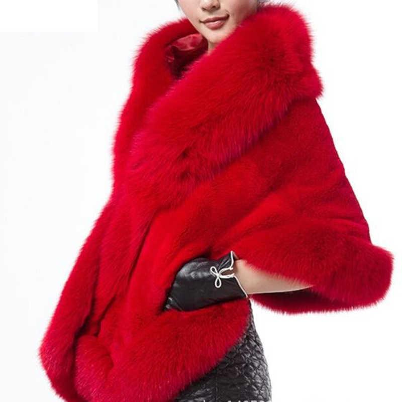 2019 invierno cuero hierba zorro Piel de visón piel de conejo Poncho capa nupcial vestido de boda chal capa mujeres chaleco abrigo de piel QA008
