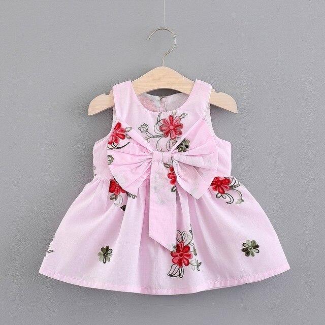 Baby Girl Dress Summer Kids Bow Dress For Girls Clothes Flower Printed Princess Sleeveless Sling beach princess Dresses