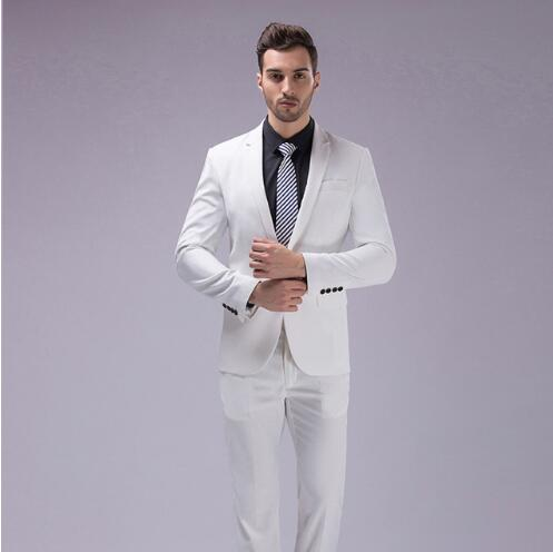 Custom Slim Fit White Men Suit 3Pcs Notched Lapel Blazer Mens Wedding Prom Suits Best Man Groom Tuxedo Formal Jacket Pants Vest