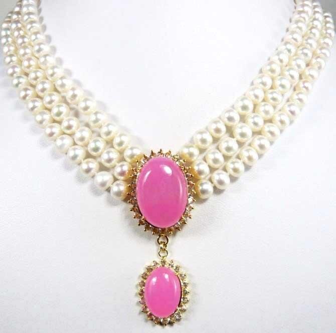 Accessoires cadeau 6 - 7 mm blanc collier de perles naturelles rose pendentif