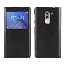 Janela da caixa do telefone capa protetora coldre de negócios Ultra-fino-tipo flip caso pu capa de couro para Huawei Honra 6X/GR5 2017