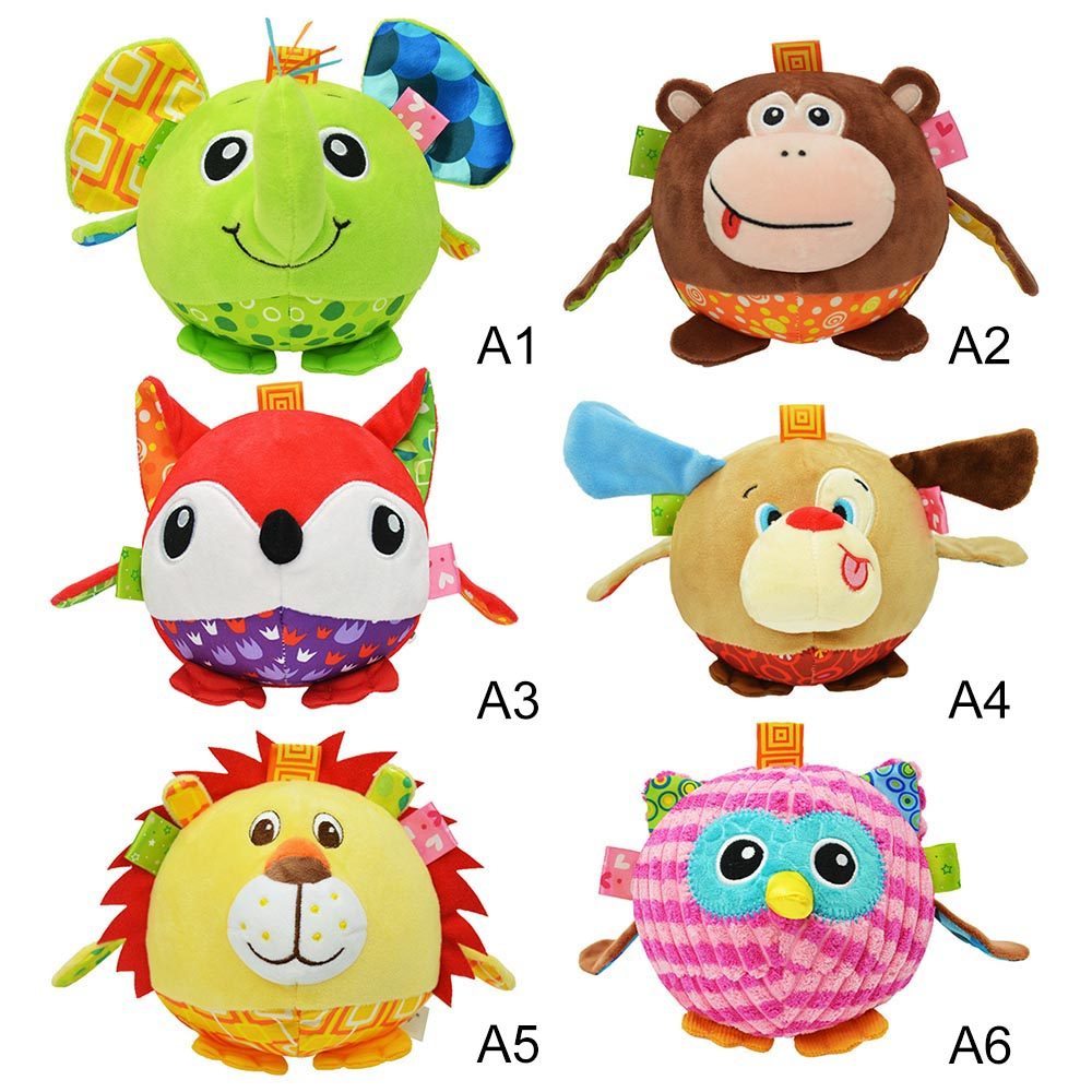 Lovely Baby Rattle Three-dimensional Animal Shape Ball Toy With Sound Paper Hand Grasp Ball Animal Dolls Baby Gift Toys