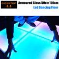 Цена со скидкой 50 см х 50 см бронированные стекла led танцпол Матовое Закаленное стекло IP65 Крытый/Открытый RGB светодиоды DMX/Auto/Sound