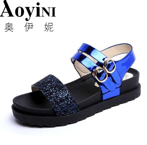 036c2418328b 2018 Summer Girls Sandals Women Junior High Schoo Ms. Sandals Little girl Flat  Wild shoes