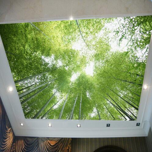 Ceiling wallpaper bamboo wallpaper murals green scenery for Ceiling mural in a smoker s lounge
