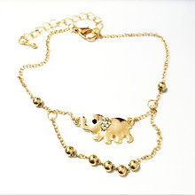 cute jewelry Fashion auspicious elephant elephants golden double foot chain anklet bracelet with Czech diamonds for girl women