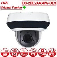 Hikvision PTZ IP камера DS 2DE2A404IW DE3 4MP 4X zoom сеть POE H.265 IK10 ROI WDR DNR купол ptz камера видеонаблюдения
