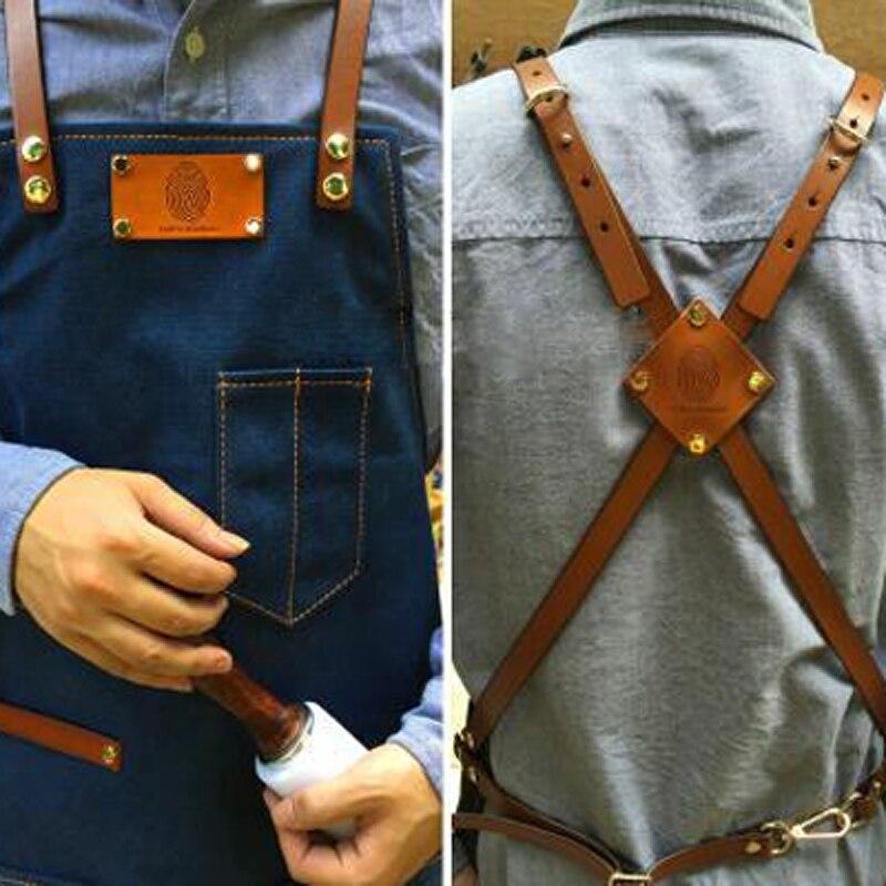 2018 tabliers de mode pour femme hommes Denim Cowboy avec uniforme de poche unisexe, logo imprimé, cuisine Chef cuisine avant détachable