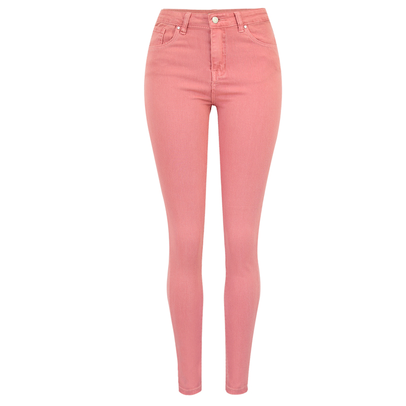 Casual Pink   Jeans   Pocket Strech High Waisted   Jeans   Skinny Denim Pencil Woman Shaping Hip   Jeans   Femme 2018 Long Slim Denim Pants