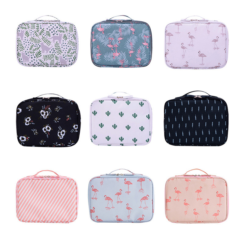 Brand Flamingo Women Makeup Kit Beautician Organizer Cosmetic Bag Travel Portable Large Capacity Toiletry Bag